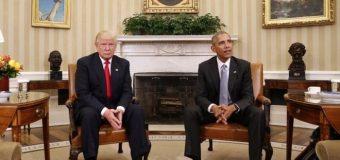 Donald Trump oo Brack Obama ku qaabiley Aqalka cad ee Mareykanka looga taliyo.