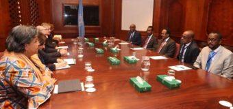 Xoghayaha Guud ee Qaramada Midoobey oo La Kulmey M/weyne Farmaajo Magaalada Addis-ababa ee Dalka Itoobiya.
